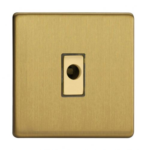 Varilight XDBFODS Screwless Brushed Brass 1 Gang 16A Flex Outlet Plate